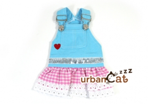Blue cat Jumper with Pink Checker Mini Skirt