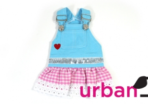 Blue dog Jumper with Pink Checker Mini Skirt